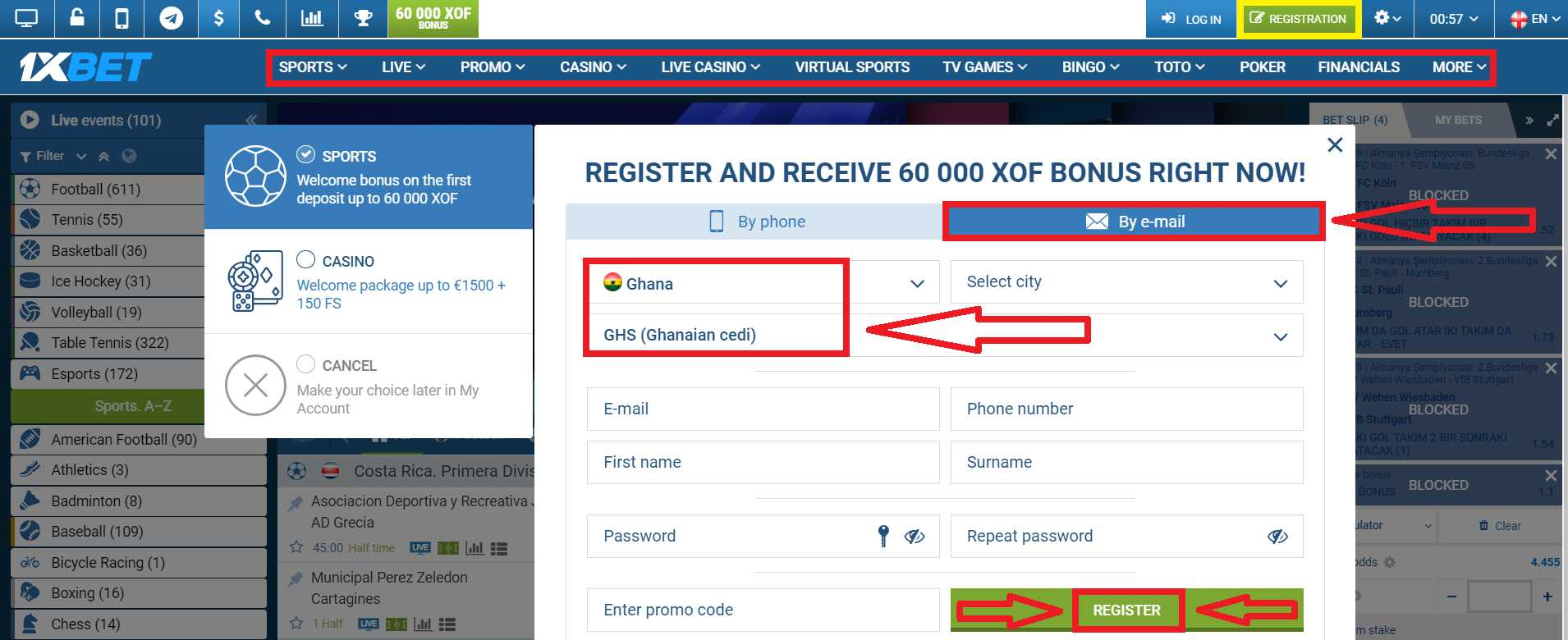 Using 1xBet Promo Code For Registration